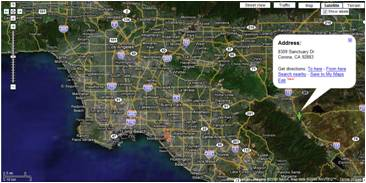 Google map of Corona CA