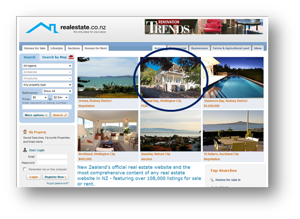 Featured property listing on realestate.co.nz